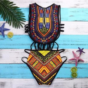 Black African Print One Piece Front