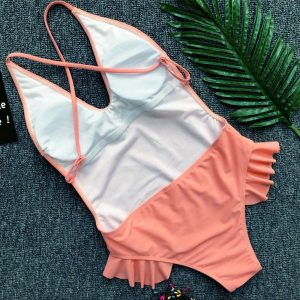 Deep Vee One Piece Pink Back