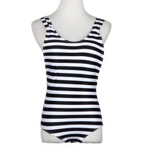 Blue & White Striped Monokini Front