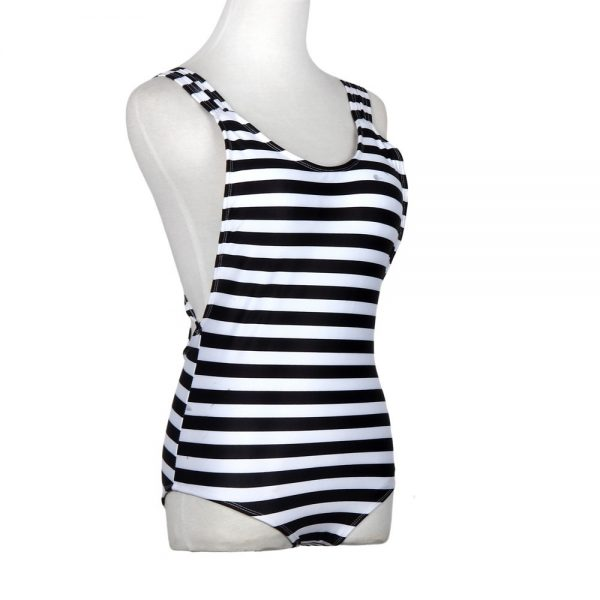 Blue & White Striped Monokini Side