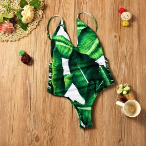 White Leaf One Piece Front