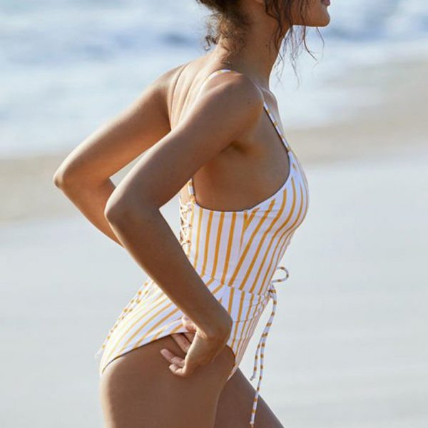 Yellow & White Striped One Piece Side