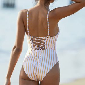 Yellow & White Striped One Piece Back