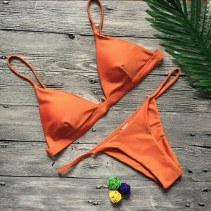 Solid Push Up Bikini Orange