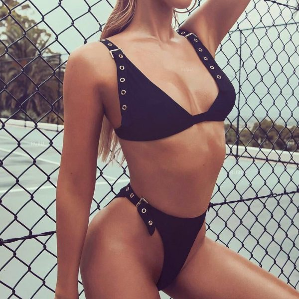 Push Up Thong Bikini Black Side