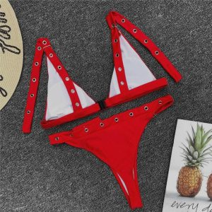 Push Up Thong Bikini Red Back