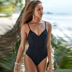 Black Printed One Piece Front
