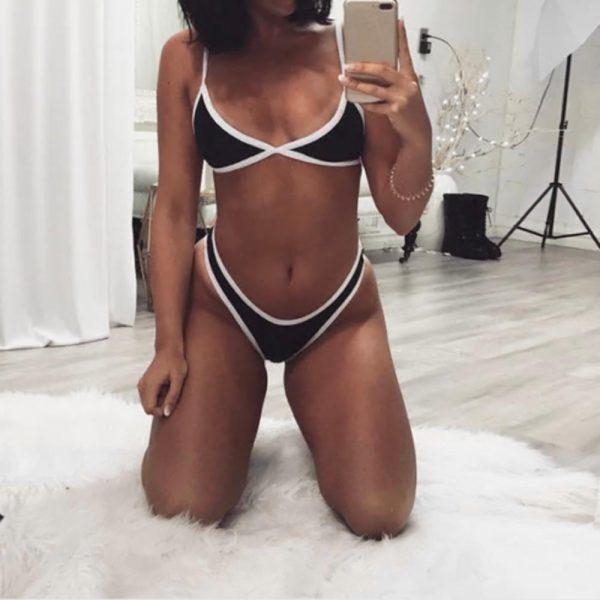 Cross Bandage Beach Bikini Black