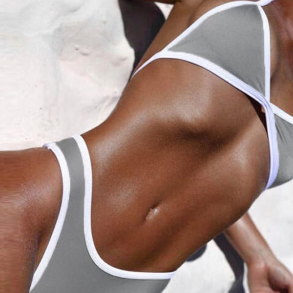 Cross Bandage Beach Bikini Grey