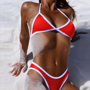 Cross Bandage Beach Bikini Red