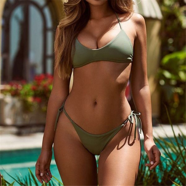 Olive Push Up Bikini Front