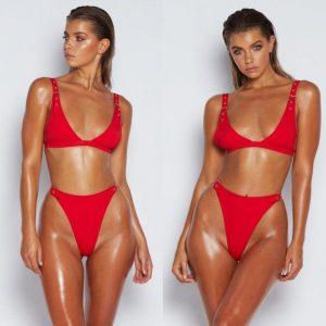 Push Up Thong Bikini Red