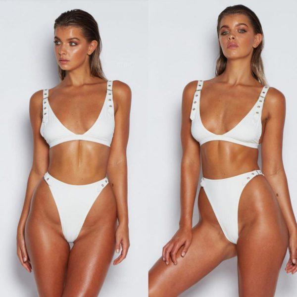 Push Up Thong Bikini White Front