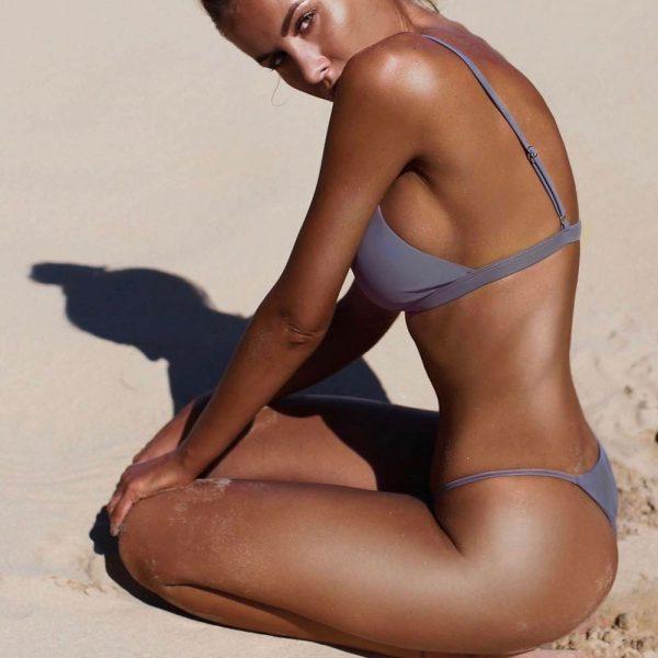 Solid Push Up Bikini Gray