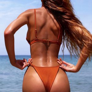 Solid Push Up Bikini Orange Back