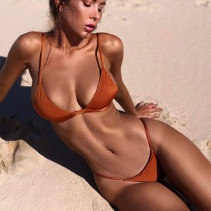 Solid Push Up Bikini Orange Side