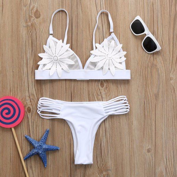 White Bandage Bikini Front