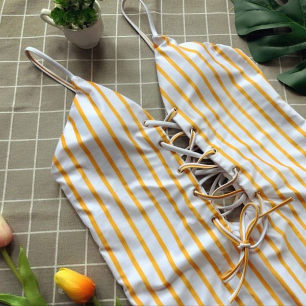 Yellow & White Striped One Piece Close
