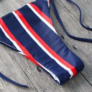 Red & Navy Striped Bikini