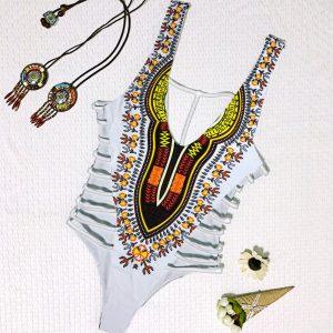 White Dashiki Bikini