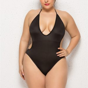 Black Plus Size Backless Swimsuit