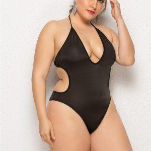 Black Plus Size Backless Swimsuit