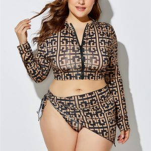 Printed Plus Size Two Piece Swimsuit