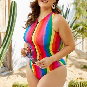 Plus Size Striped Two Piece Swimsuit
