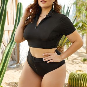 Black Two-Piece Turtleneck Swimsuit