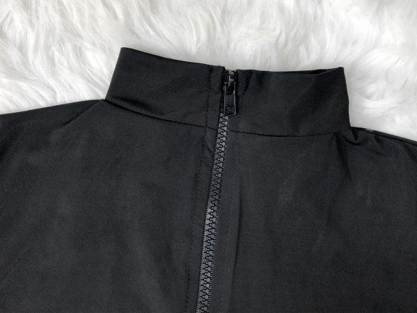 Black Long-Sleeve Zipper One-Piece