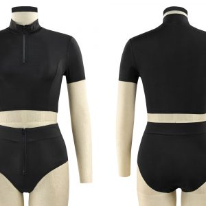 Black Two-Piece Turtleneck Swimsuit