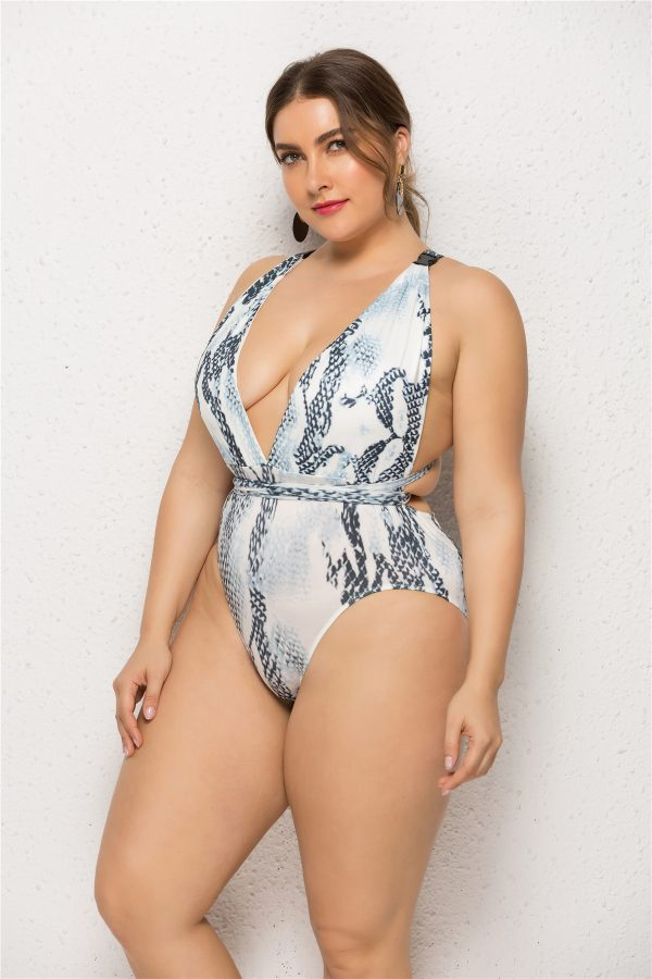Plus Size Marble Print Deep V One Piece