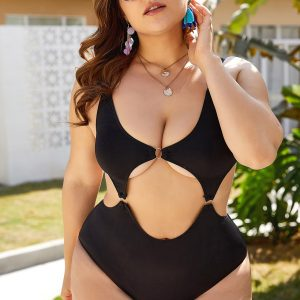 Plus Size Hollow-out One-Piece Swimsuit - Black