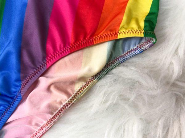 Plus Size Split Swimsuit in Rainbow Stripes