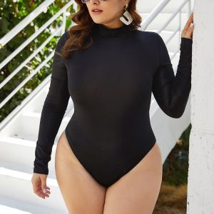 Plus Size High Collar Long Sleeve One-Piece