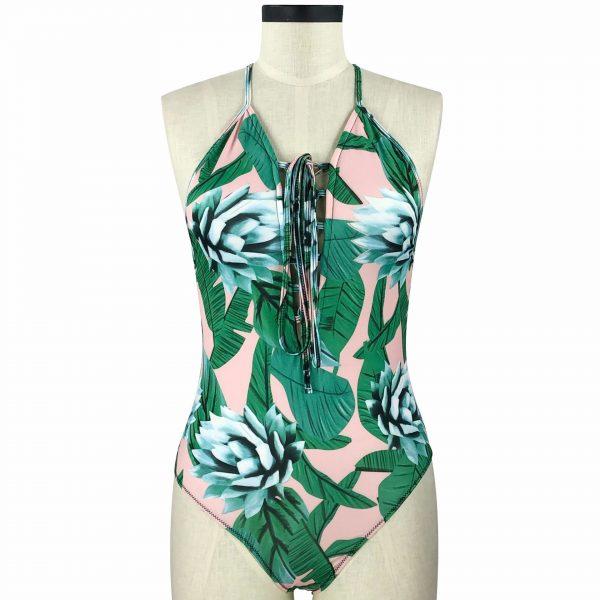 Plus Size Floral Print Swimsuit