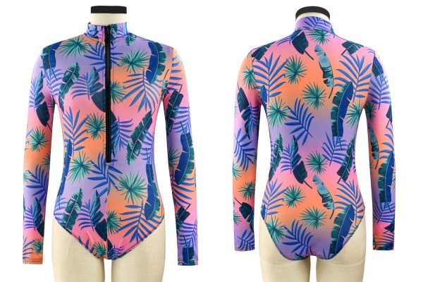 Plus Size Floral High Collar Long-Sleeve One-Piece