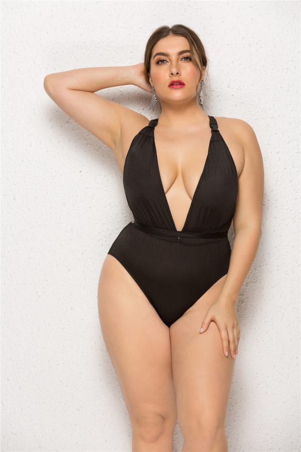 Plus Size Deep Plunge Swimsuit